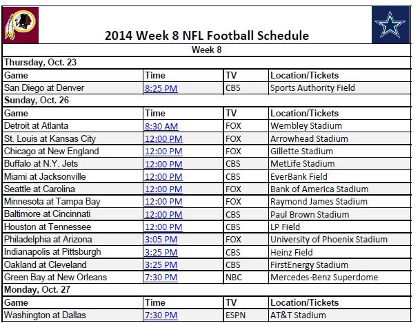 2014 NFL Week 8 Schedule