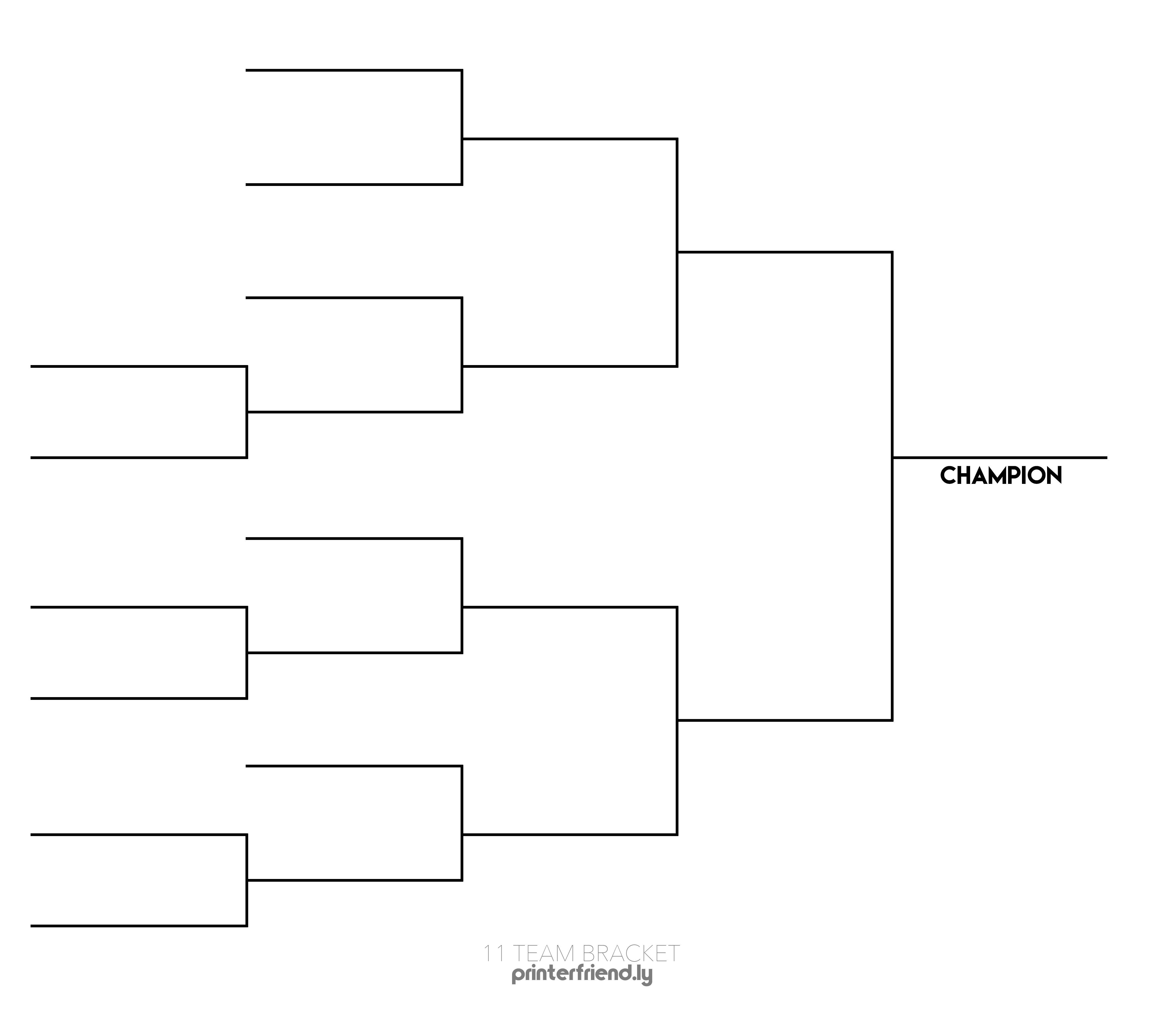 11 Team Printable Tournament Bracket