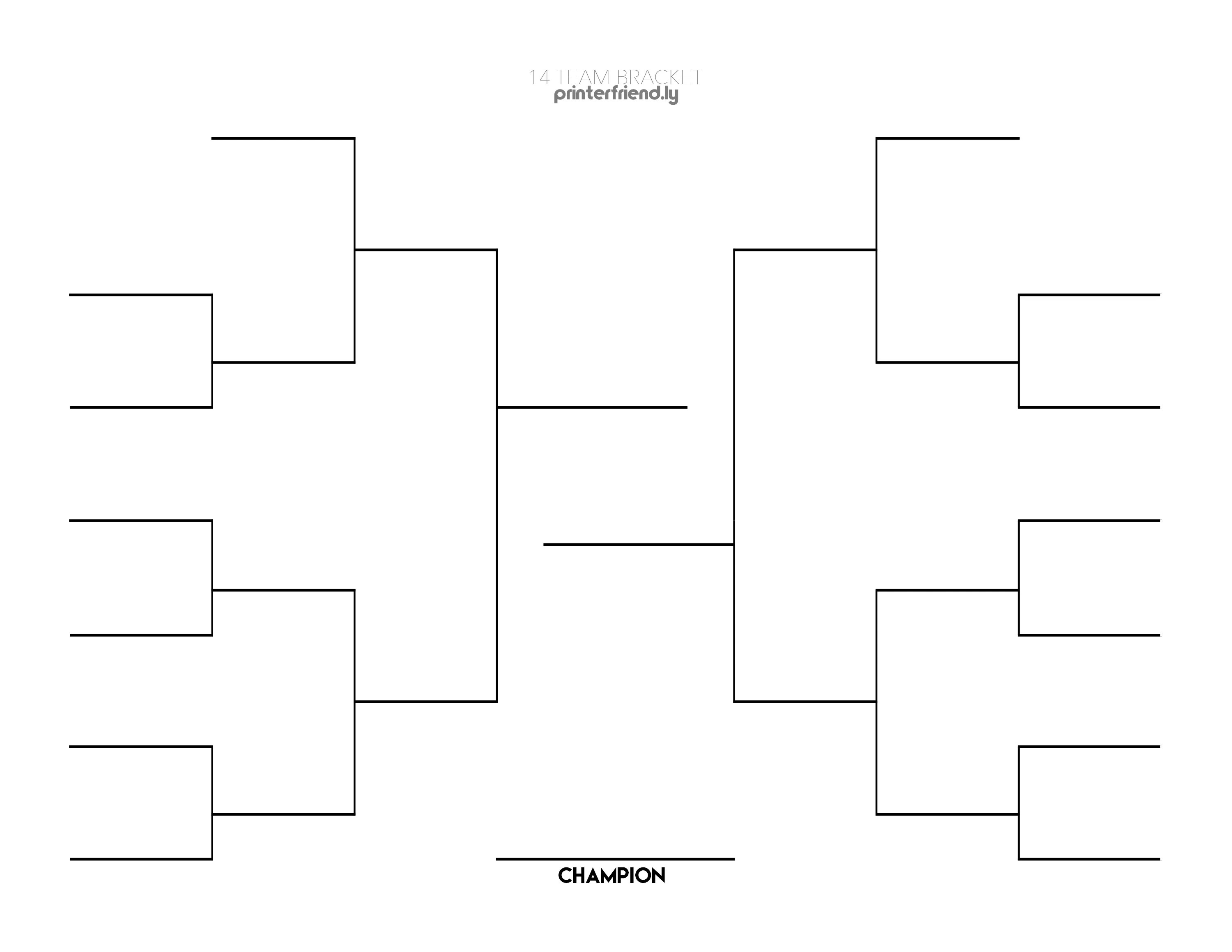 14 Team Single Elimination Bracket Printable Fillable In Pdf Format Printerfriend Ly