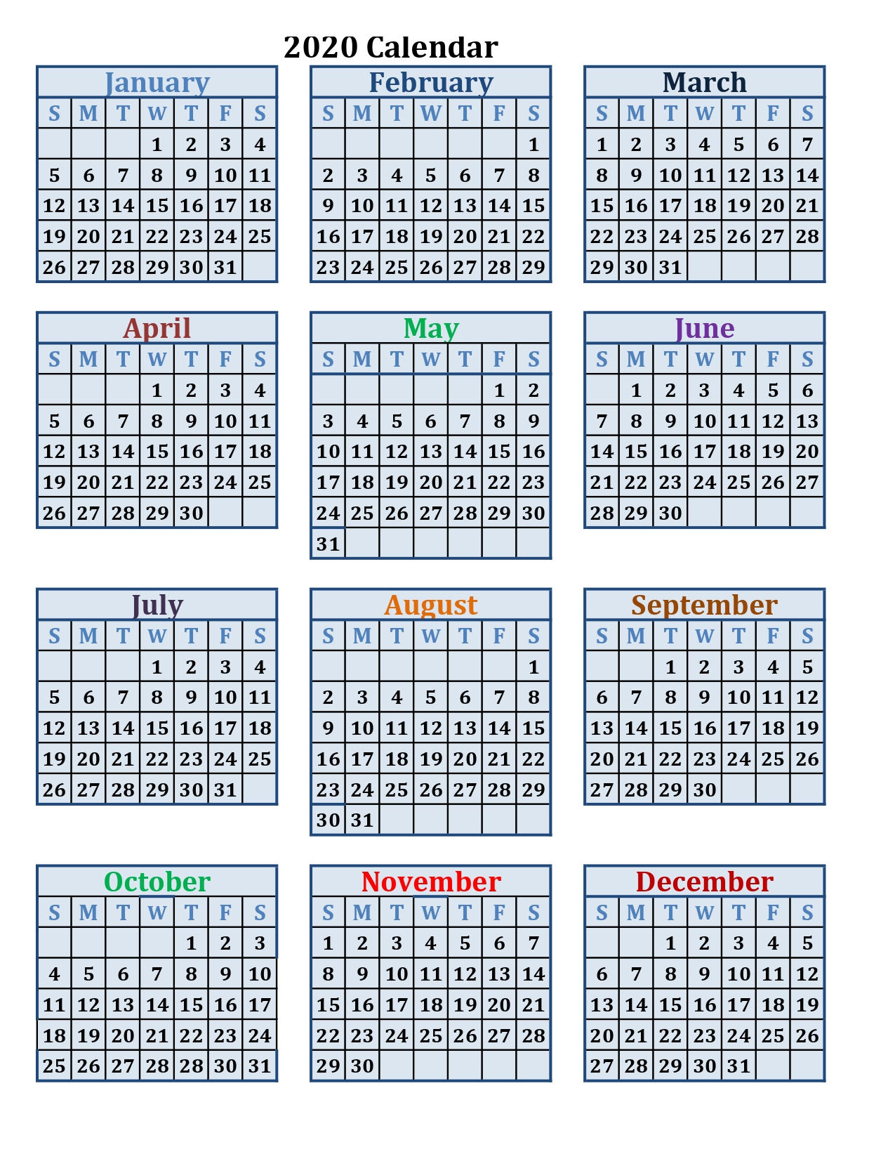 Printable calendar 2020 by month and Women's March Madness schedule