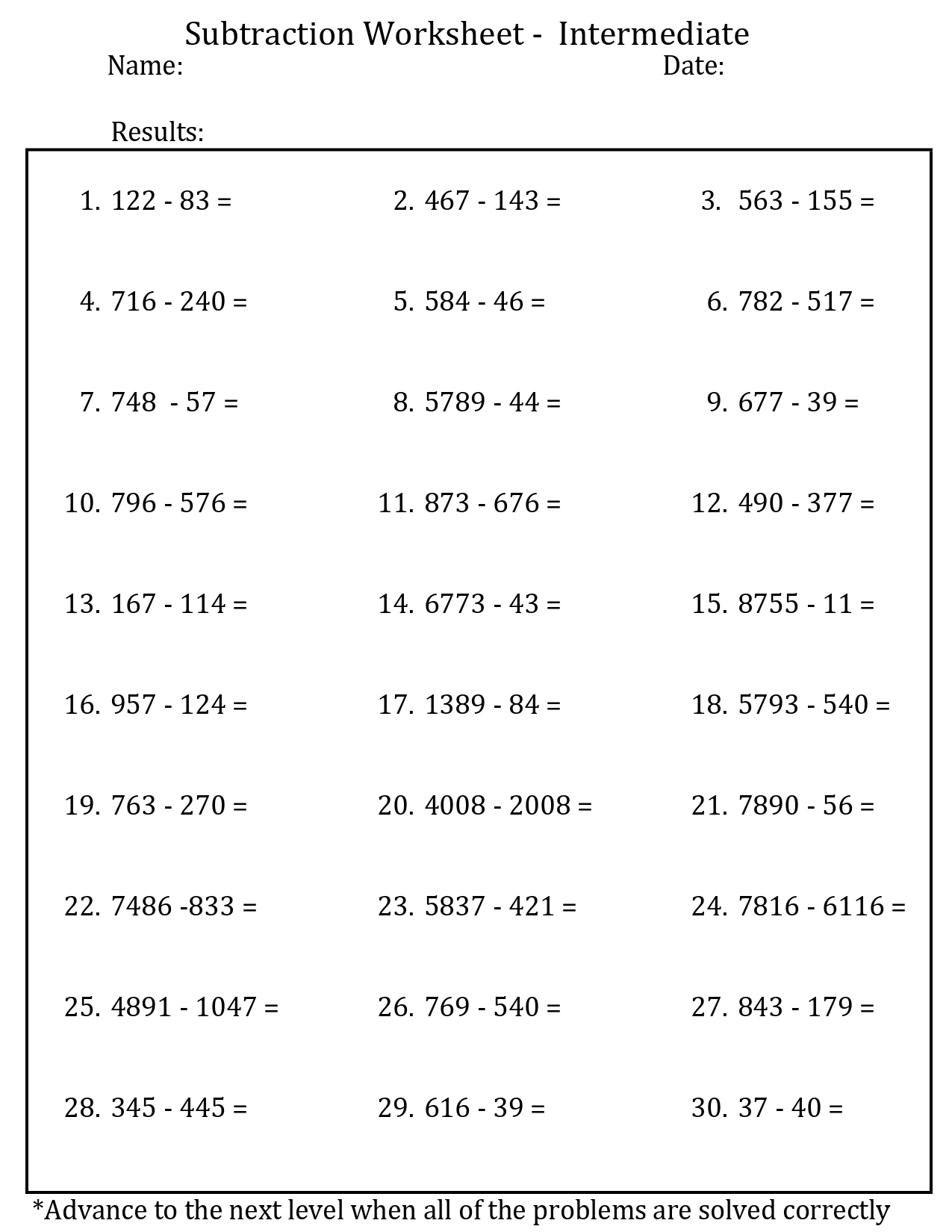 Printable basic subtraction worksheet intermediate