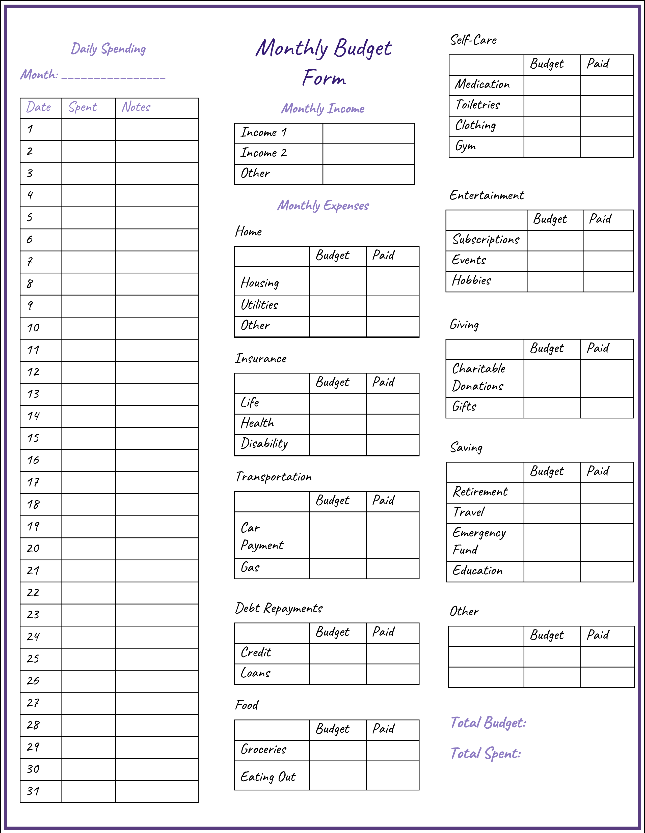 3 Monthly Budget Form Templates Printable In