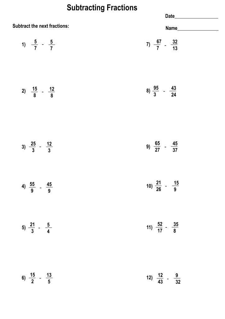 Printable addition fractions worksheets with answers ...
