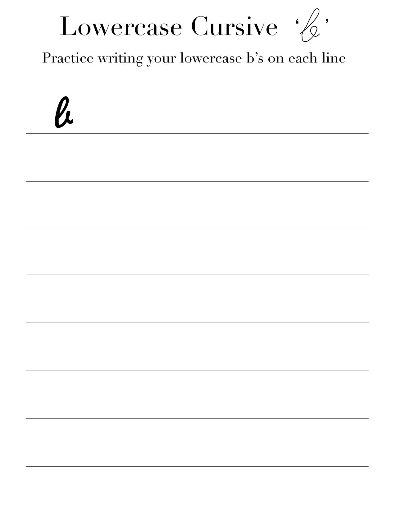 lowercase cursive b worksheet
