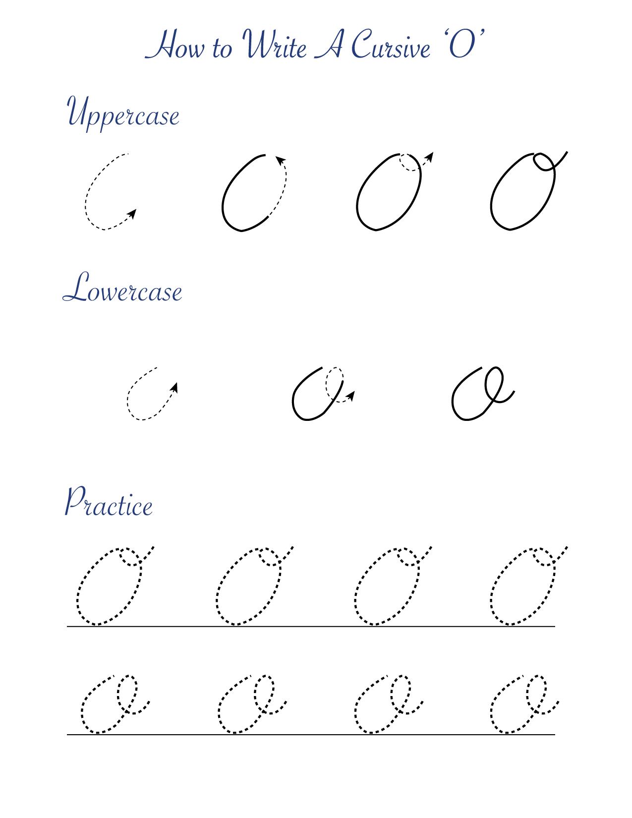 How to write a cursive O