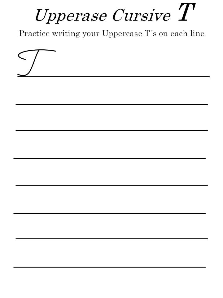 capital cursive 'T' worksheet