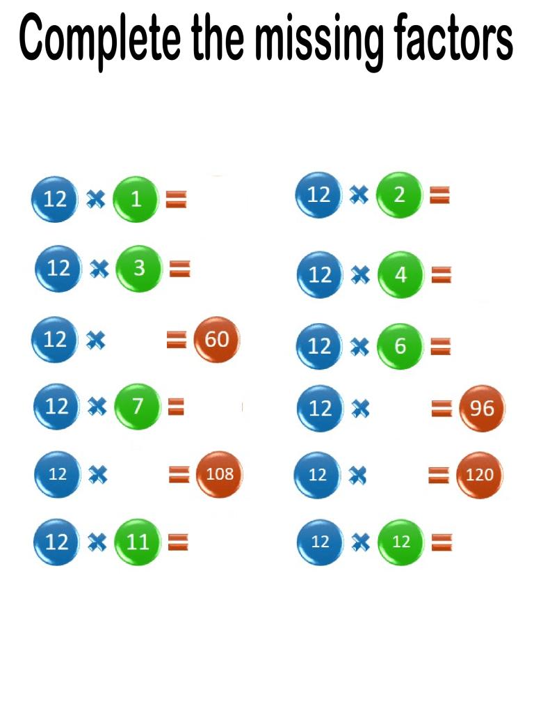 multiplication worksheets missing factor