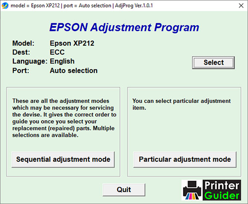 Epson XP212 Adjustment Program