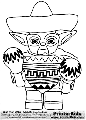lego star wars mexican yoda coloring page preview