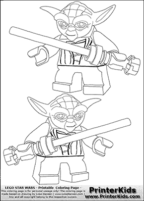 lego star wars double lightsaber yoda coloring page preview
