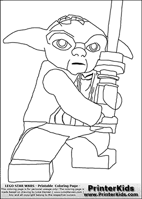 lego star wars master yoda battle stance coloring page preview