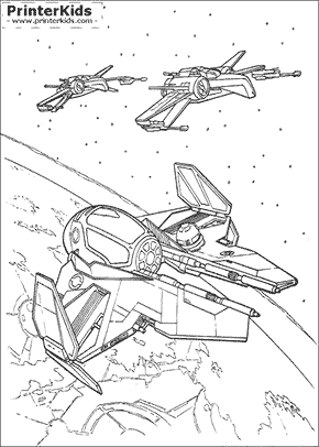 star wars millennium falcon and xwings coloring page preview