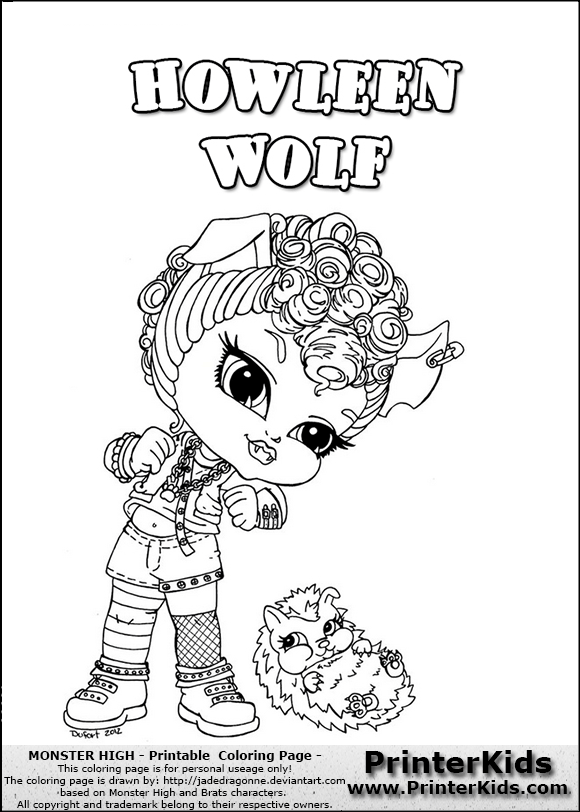 monster high howleen wolf baby chibi cute coloring page preview