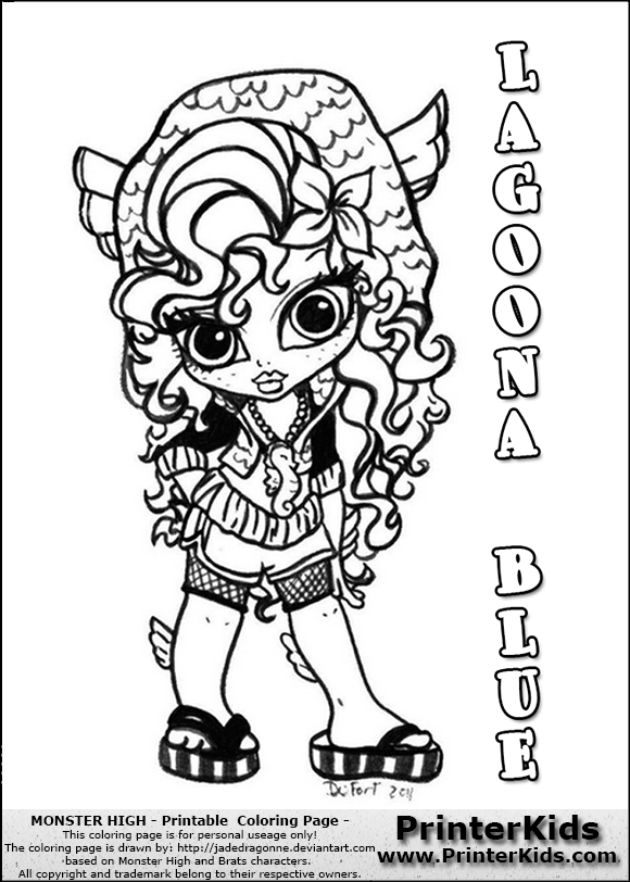 monster high lagoona blue baby chibi cute coloring page preview