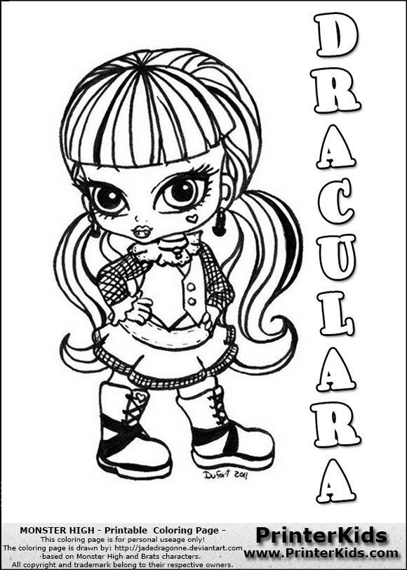 monster high draculara baby chibi cute coloring page preview