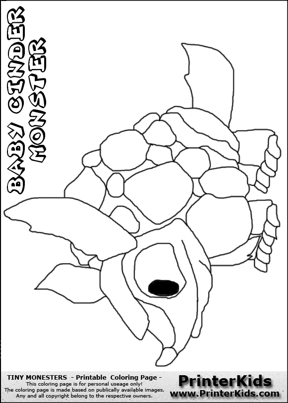 tiny monsters cinder baby monster coloring page