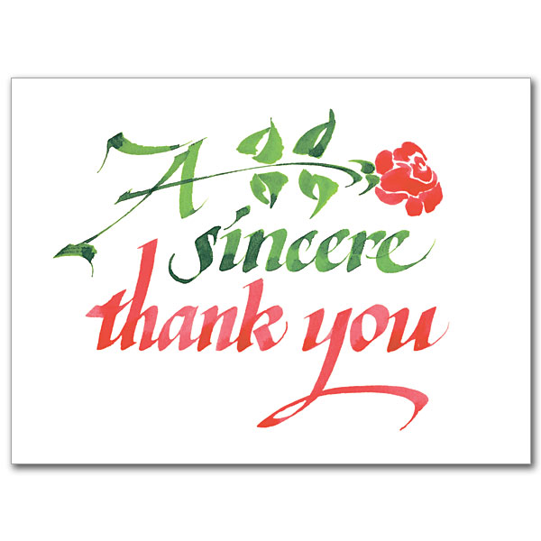 A Sincere Thank You Thank You