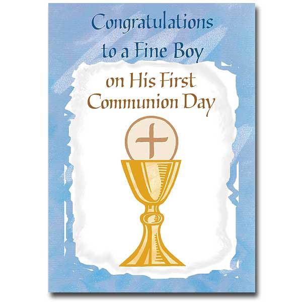Congratulations To A Fine Boy First Communion Card Boy