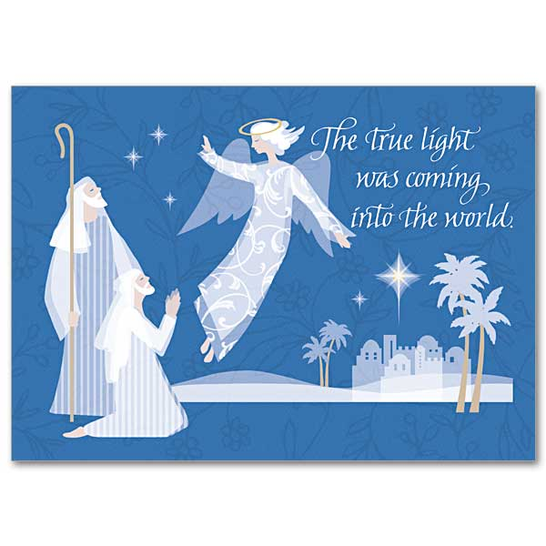 Angel Appearing To Shepherds Miracle Of Christmas Card
