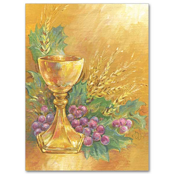 Chalice With Grapes And Wheat Ordination Invitations