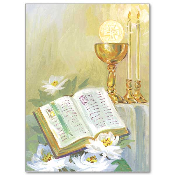 Chalice And Host On Altar Ordination Invitations