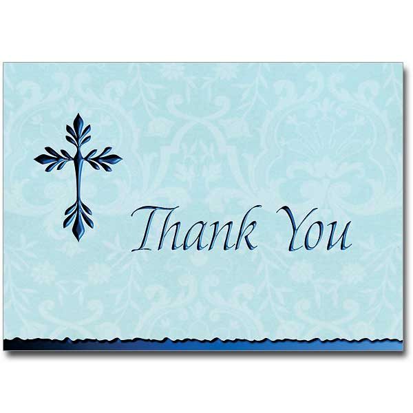 Tree Of Life Cross Deluxe Thank You Notes Blue
