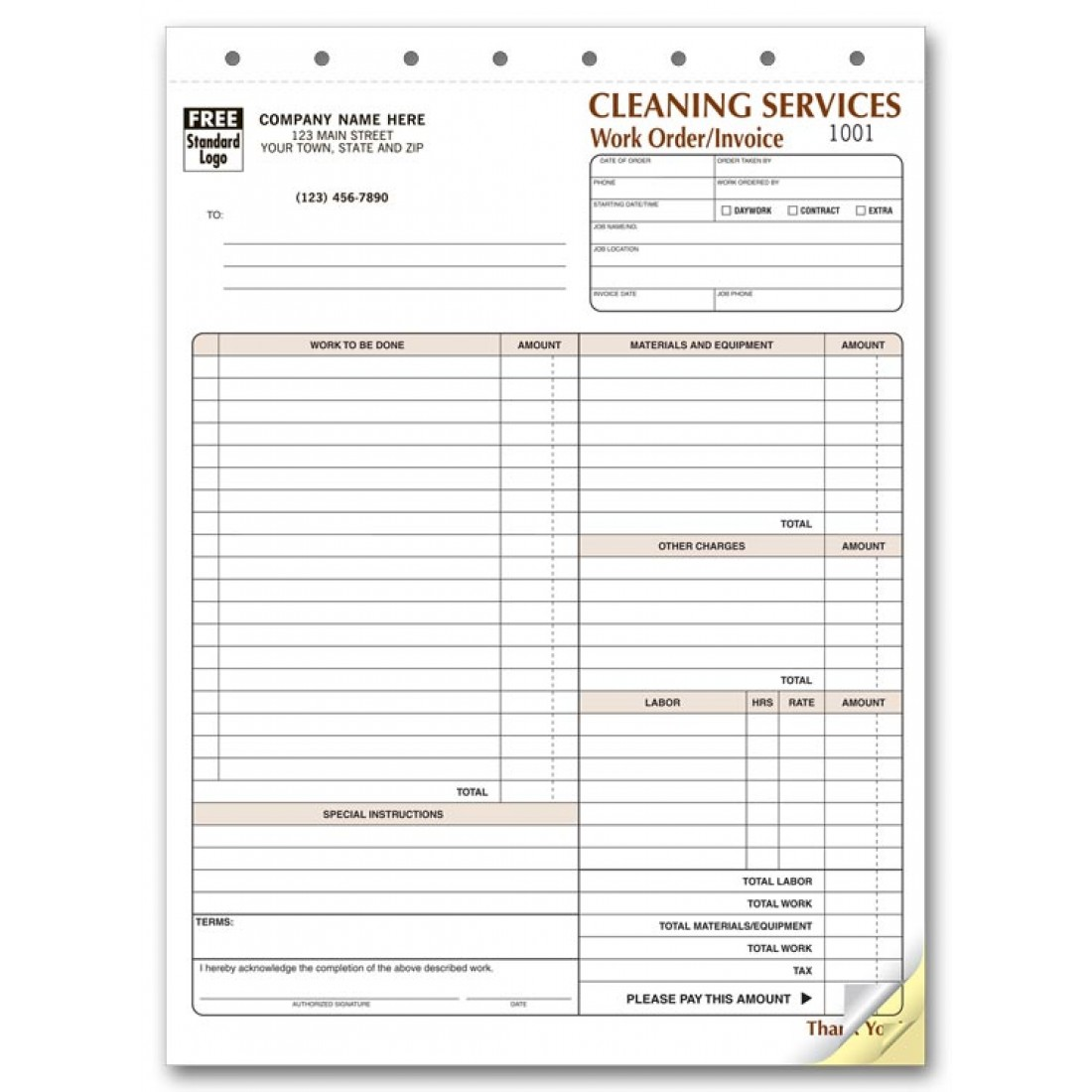 Cleaning Service Invoice Forms At Print Ez