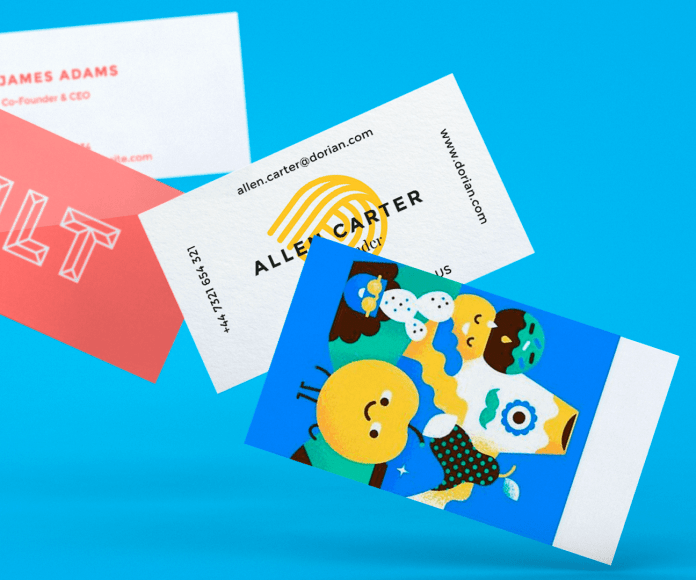 business cards on a blue background