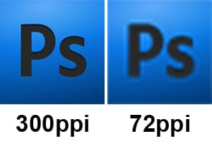 The difference of pixels between 300ppi and 72 ppi. 300ppi has a clear resolution and 72ppi is pixelated and blurry.