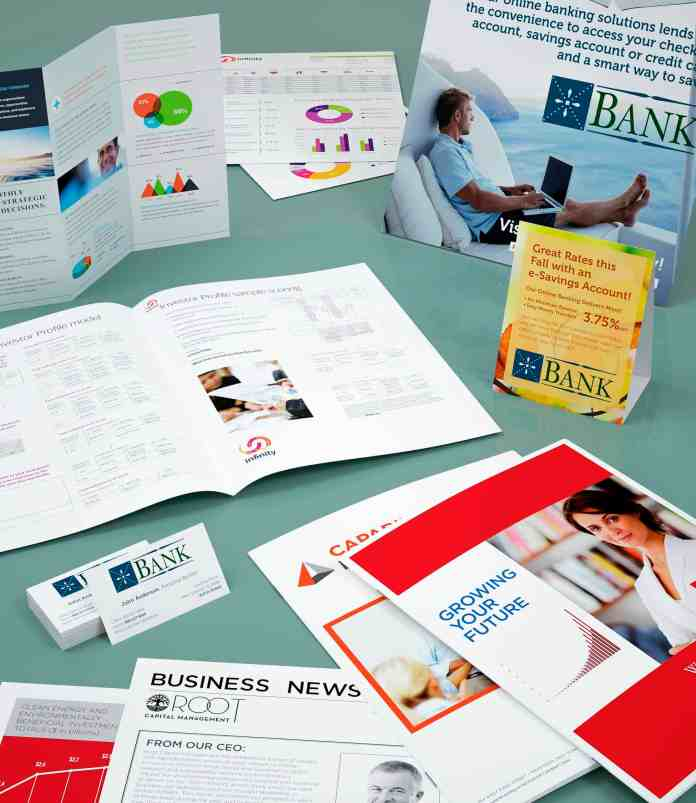 Marketing materials. Tri fold brochures, postcards, business cards, saddle stitched booklets.