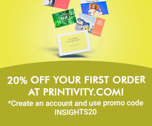 First time customer discount at Printivity.com! Yellow background
