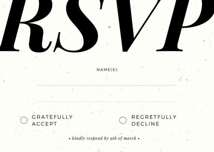 Formal RSVP card wording