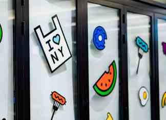 Custom stickers on glass window