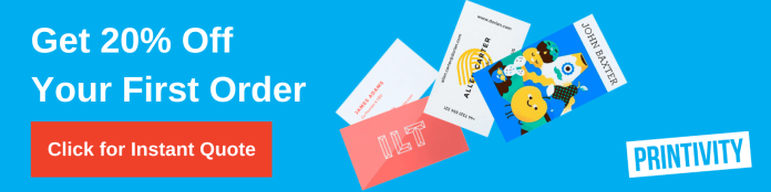 Get 20% off your first order at Printivity banner ad