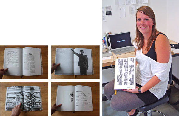 Brigiet van den Berg is a professional graphic designer visiting from Holla nd. Although not an Otis student, she's been sitting in on MFA classes and delivering lectures about Dutch design during the summer. Left: inside spreads for an annual report she designed for VPRO, a Netherlands independent public broadcaster. Right: Brigiet at the Open Studio, with the annual report. Photo by Michael Dooley. http://brigiet.isme.nl/