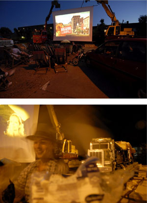"""Sophie Krier and Henriëtte Waal: """"Long Live Temporariness Drive-In,"""" 2008. Photos by Margot Oosterveen."""