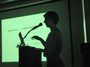 Sophie Krier addresses an audience of students, faculty, and design professionals at Otis. Photo by Michael Dooley.