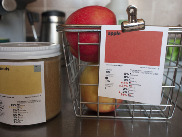 labels for peanut butter and an apple