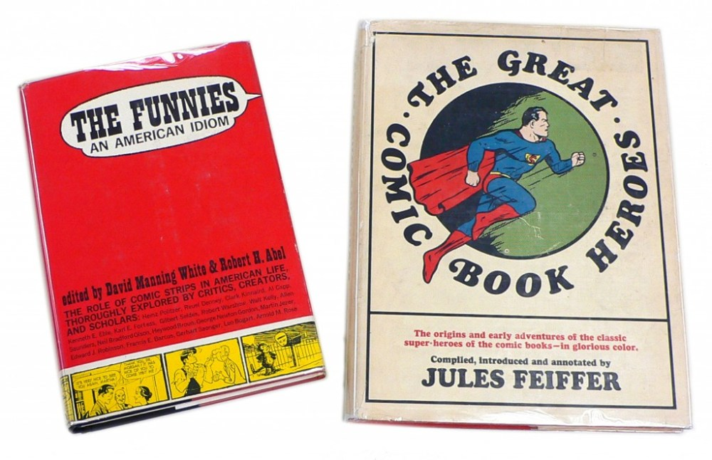 """Left: """"The Funnies-An American Idiom"""" 1963  Right: """"The Great Comic Book Heroes"""" 1965"""