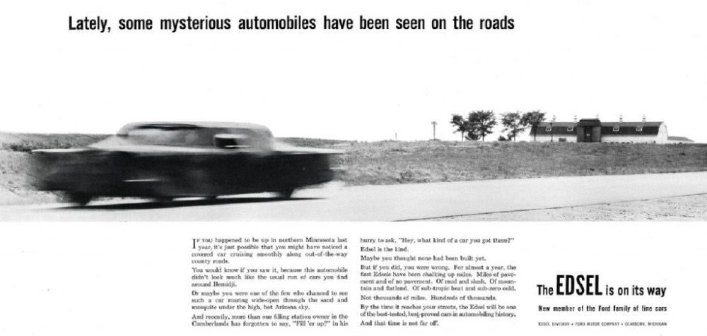 Pre-launch Edsel ad showing shrouded car