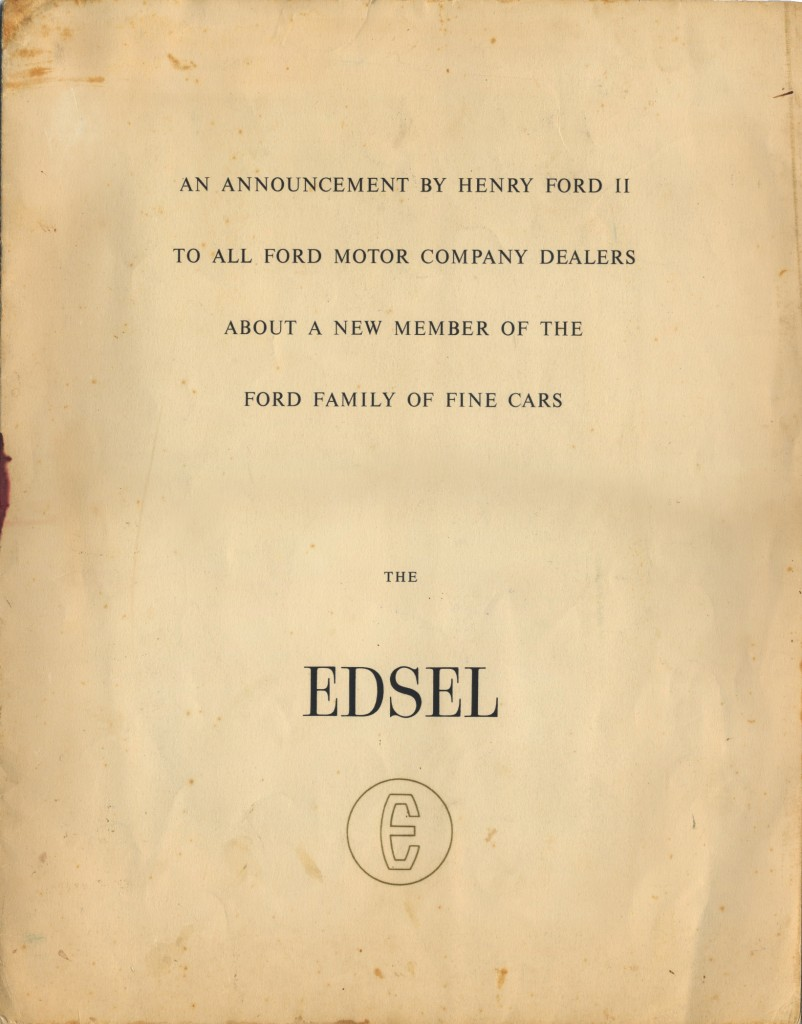 Cover of Ford Motor Company's announcement to existing dealers.