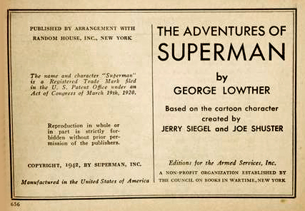 The Adventures of Superman copyright page
