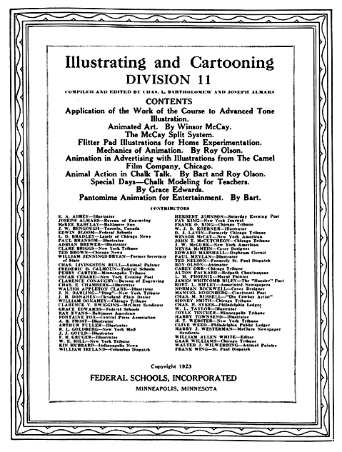 Contents page of 1923 edition (Kathleen Quaife)