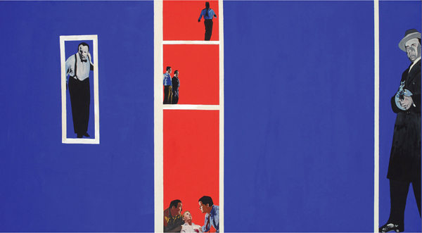 Rosalyn Drexler: Home Movies, 1963. Oil and synthetic polymer with photomechanical reproductions on canvas, 48 1/8 x 96 1/8 in. © 2012 Rosalyn Drexler, Artists Rights Society, New York.