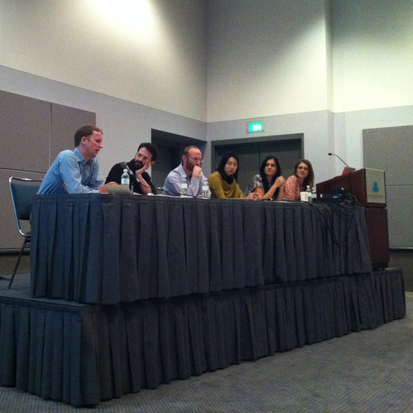 """Anthony E. Grudin speaking at CAA100's """"Pop and Politics"""" panel"""
