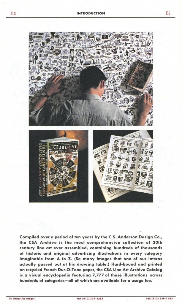 """Page 2 """"CSA Line Art Catalog #1"""" Charles S. Anderson Design Co. 1995"""