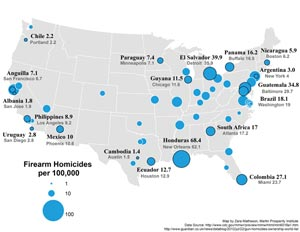 The Atlantic's map comparing gun murders in American cities to nations around the world.