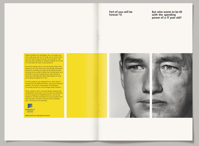 Cool use of photography, type and color in this brochure for Aviva, a pensions and insurance company, created by Paul Belford Ltd.