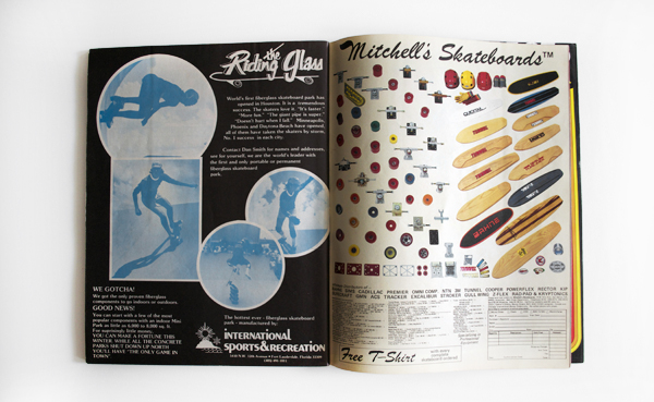 Skateboarding ads at the time were dominated by product shots.
