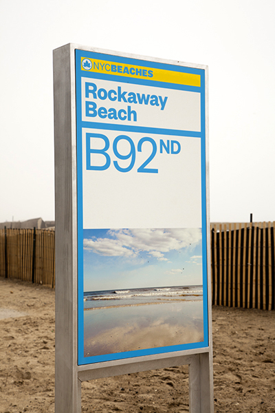After Hurricane Sandy, many New York City beaches were devastated by storm damage. Pentagram, through a large signage and environmental graphics campaign, have aided the effort in revitalizing these beaches in time for summer.